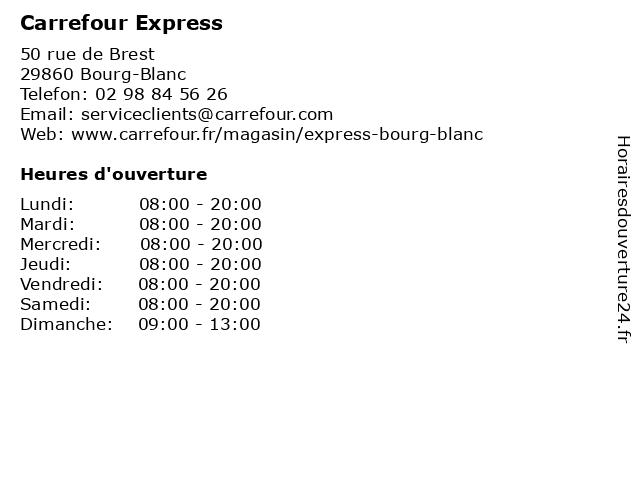 Carrefour Express à Bourg-Blanc: adresse et heures d'ouverture