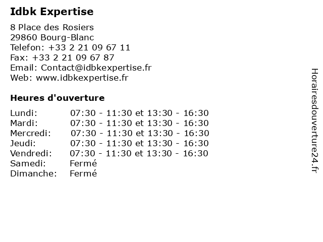 Idbk Expertise à Bourg-Blanc: adresse et heures d'ouverture
