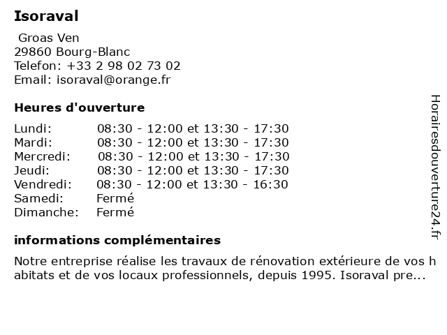 Isoraval à Bourg-Blanc: adresse et heures d'ouverture