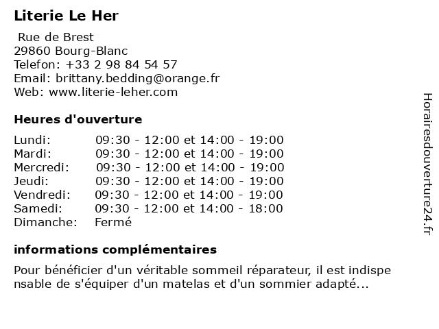 Literie Le Her à Bourg-Blanc: adresse et heures d'ouverture