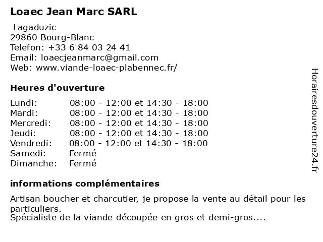 Loaec Jean Marc SARL à Bourg-Blanc: adresse et heures d'ouverture