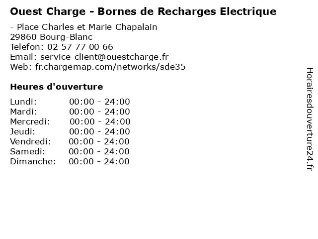 Ouest Charge - Bornes de Recharges Electrique à Bourg-Blanc: adresse et heures d'ouverture