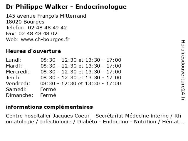 Dr Philippe Walker - Endocrinologue à Bourges: adresse et heures d'ouverture