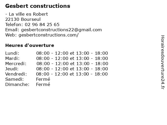 Gesbert constructions à Bourseul: adresse et heures d'ouverture