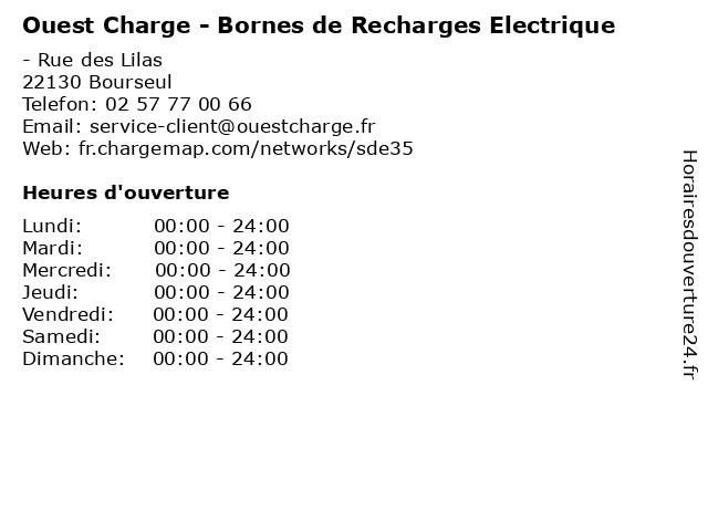 Ouest Charge - Bornes de Recharges Electrique à Bourseul: adresse et heures d'ouverture