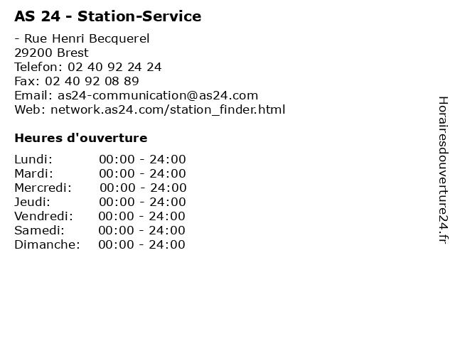 AS 24 - Station-Service à Brest: adresse et heures d'ouverture