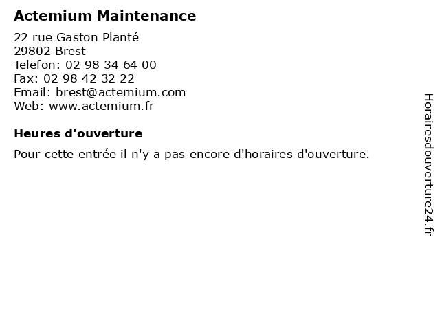 Actemium Maintenance à Brest: adresse et heures d'ouverture