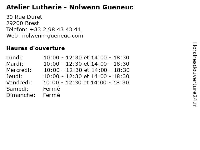Atelier Lutherie - Nolwenn Gueneuc à Brest: adresse et heures d'ouverture