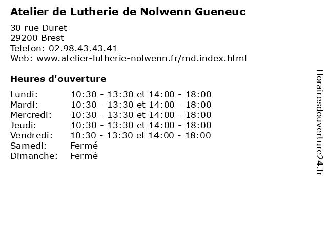 Atelier de Lutherie de Nolwenn Gueneuc à Brest: adresse et heures d'ouverture