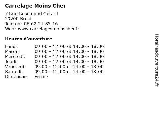 Carrelage Moins Cher à Brest: adresse et heures d'ouverture