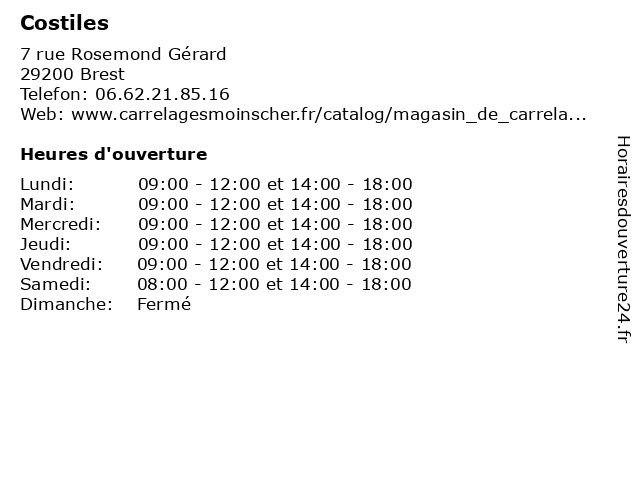 Costiles à Brest: adresse et heures d'ouverture