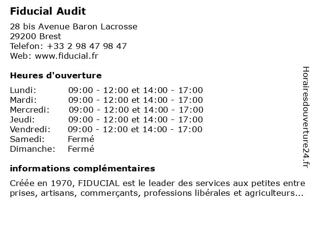 Fiducial Audit à Brest: adresse et heures d'ouverture
