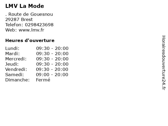 LMV La Mode à Brest: adresse et heures d'ouverture