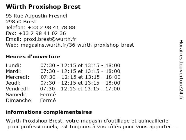 Würth Proxishop Brest à Brest: adresse et heures d'ouverture
