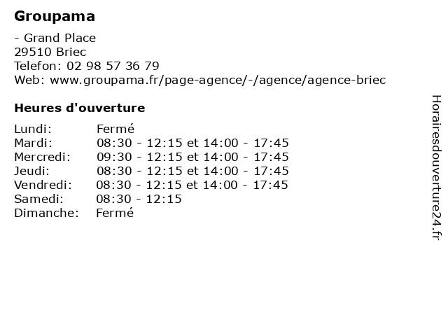 Groupama à Briec: adresse et heures d'ouverture