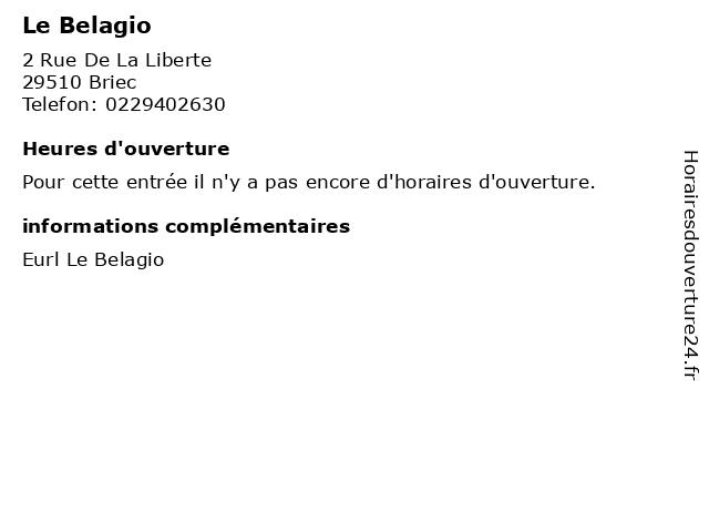 Le Belagio à Briec: adresse et heures d'ouverture