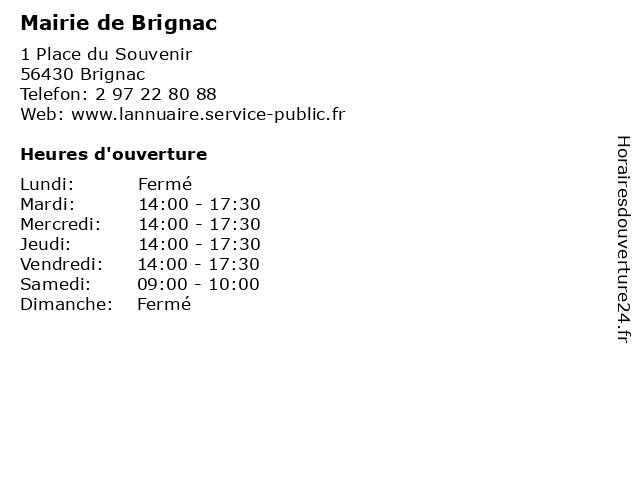 Mairie de Brignac à Brignac: adresse et heures d'ouverture