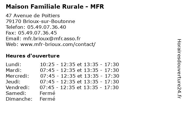Á… Maison Familiale Rurale Mfr Horaires D Ouverture 47 Avenue De Poitiers A Brioux Sur Boutonne