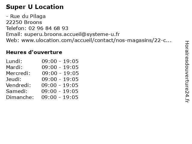 Super U Location à Broons: adresse et heures d'ouverture