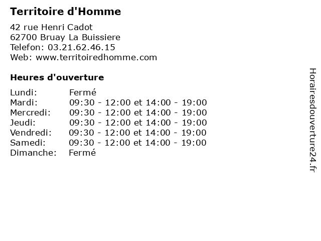 Territoire d'Homme à Bruay La Buissiere: adresse et heures d'ouverture