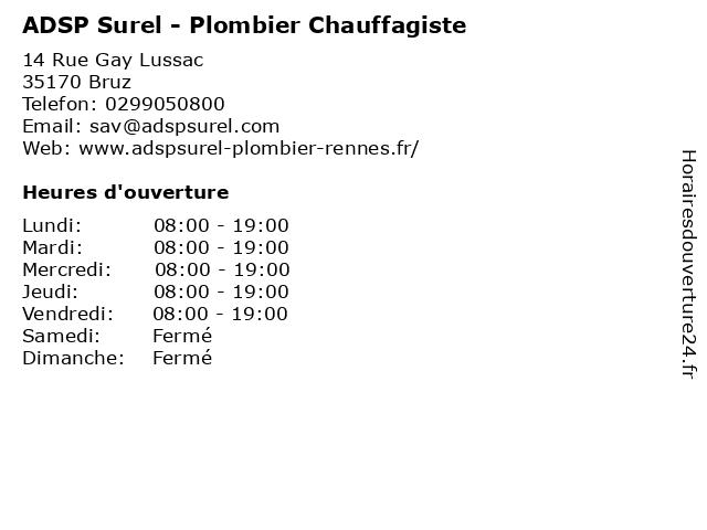 ADSP Surel - Plombier Chauffagiste à Bruz: adresse et heures d'ouverture