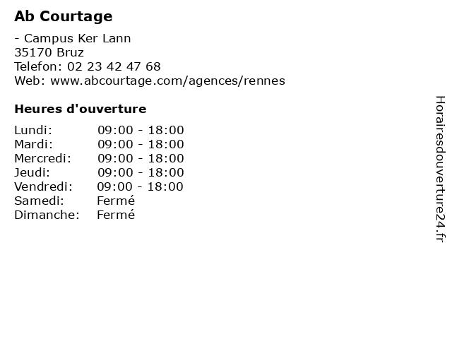 Ab Courtage à Bruz: adresse et heures d'ouverture