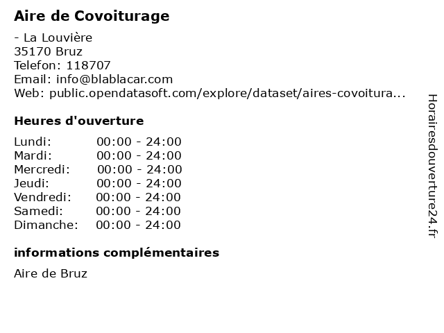 Aire de Covoiturage à Bruz: adresse et heures d'ouverture