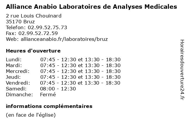Alliance Anabio Laboratoires de Analyses Medicales à Bruz: adresse et heures d'ouverture