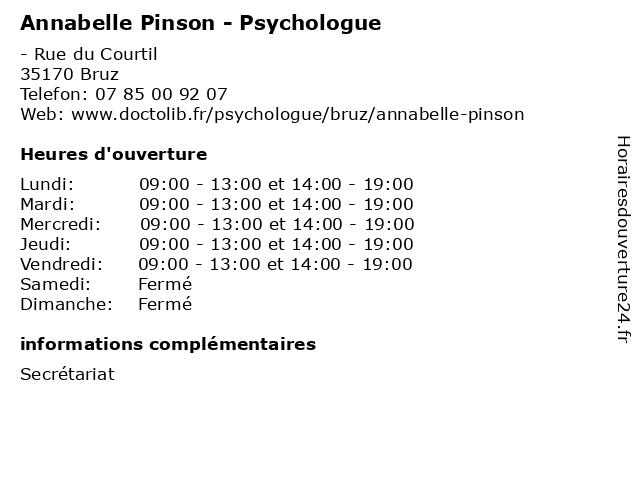 Annabelle Pinson - Psychologue à Bruz: adresse et heures d'ouverture