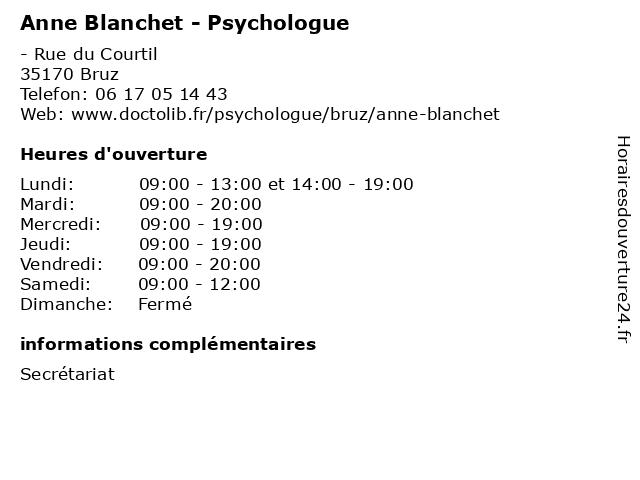 Anne Blanchet - Psychologue à Bruz: adresse et heures d'ouverture