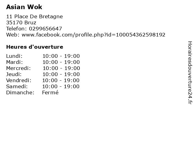 Asian Wok à Bruz: adresse et heures d'ouverture