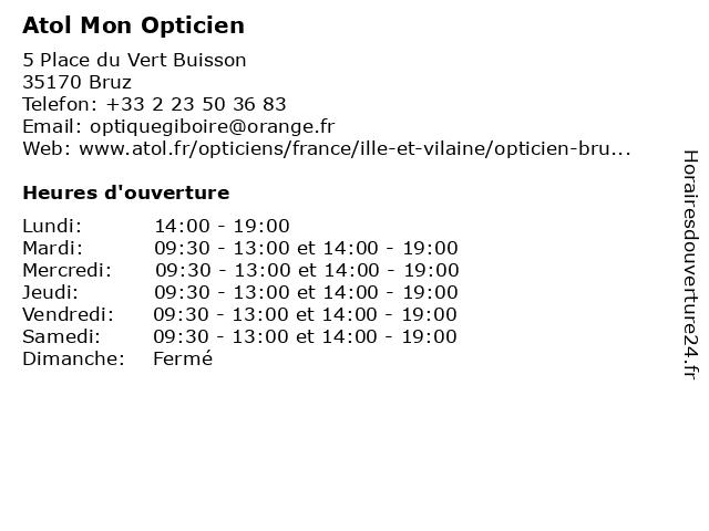 Atol Mon Opticien à Bruz: adresse et heures d'ouverture