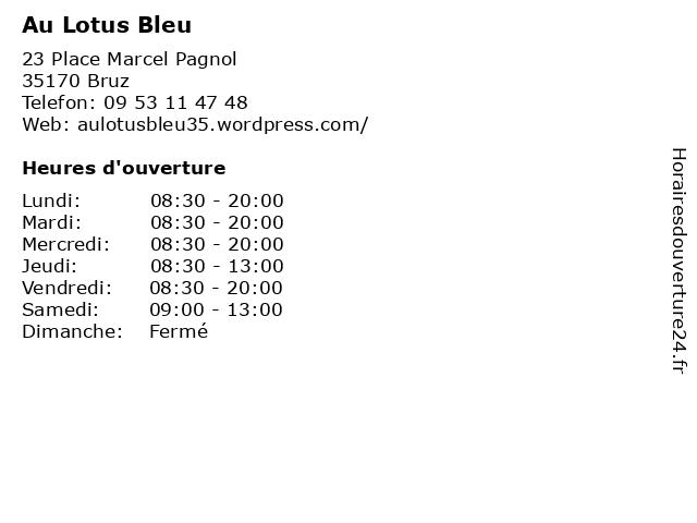 Au Lotus Bleu à Bruz: adresse et heures d'ouverture