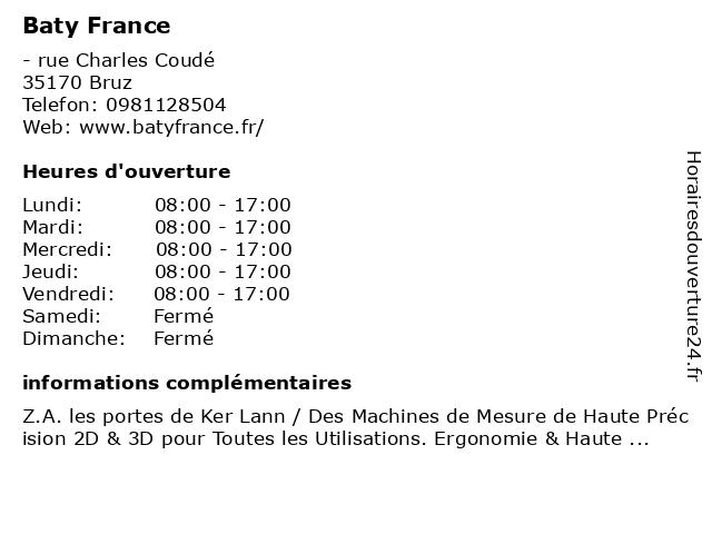 Baty France à Bruz: adresse et heures d'ouverture
