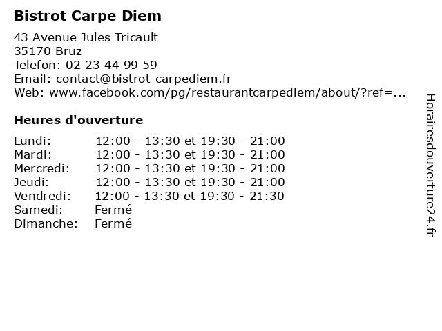 Bistrot Carpe Diem à Bruz: adresse et heures d'ouverture