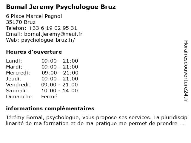Bomal Jeremy Psychologue Bruz à Bruz: adresse et heures d'ouverture