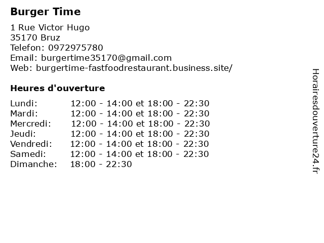 Burger Time à Bruz: adresse et heures d'ouverture