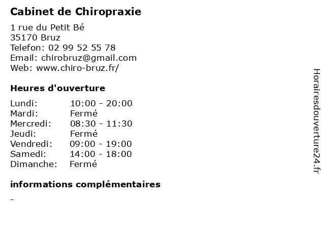 Cabinet de Chiropraxie à Bruz: adresse et heures d'ouverture