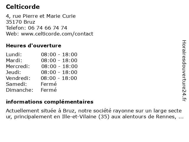 Celticorde à Bruz: adresse et heures d'ouverture