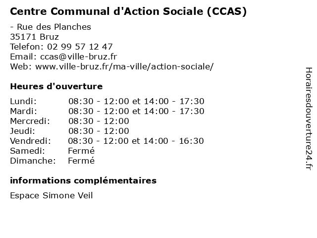 Centre Communal d'Action Sociale (CCAS) à Bruz: adresse et heures d'ouverture