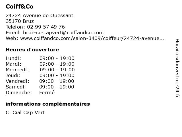 Coiff&Co à Bruz: adresse et heures d'ouverture