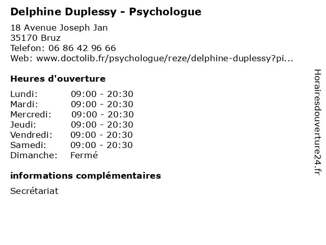 Delphine Duplessy - Psychologue à Bruz: adresse et heures d'ouverture