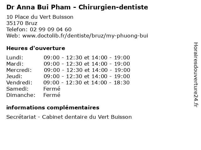 Dr Anna Bui Pham - Chirurgien-dentiste à Bruz: adresse et heures d'ouverture