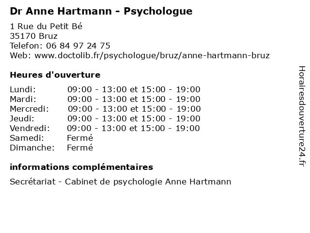 Dr Anne Hartmann - Psychologue à Bruz: adresse et heures d'ouverture
