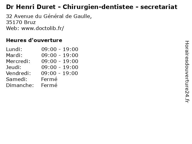 Dr Henri Duret - Chirurgien-dentistee - secretariat à Bruz: adresse et heures d'ouverture