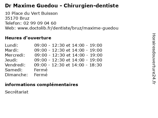 Dr Maxime Guedou - Chirurgien-dentiste à Bruz: adresse et heures d'ouverture
