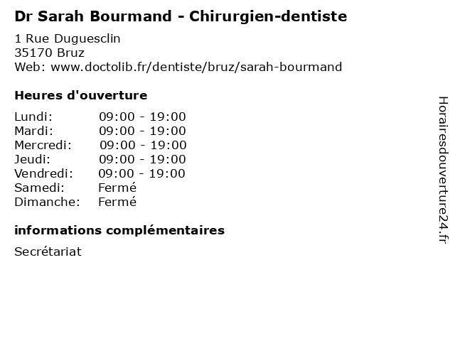 Dr Sarah Bourmand - Chirurgien-dentiste à Bruz: adresse et heures d'ouverture