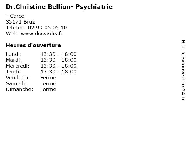 Dr.Christine Bellion- Psychiatrie à Bruz: adresse et heures d'ouverture