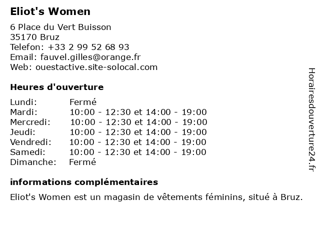 Eliot's Women à Bruz: adresse et heures d'ouverture