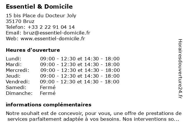 Essentiel & Domicile à Bruz: adresse et heures d'ouverture